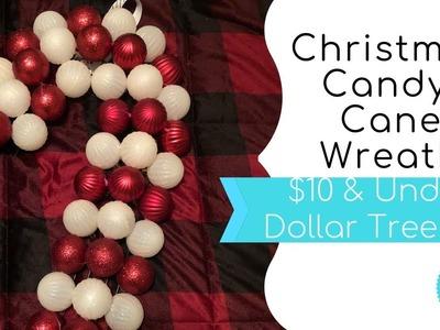 $10 & Under Dollar Tree DIY -  Christmas Candy Cane Wreath