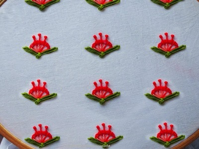 All over design hand embroidery part #6 | Buttonhole stitch and long french knot stitch