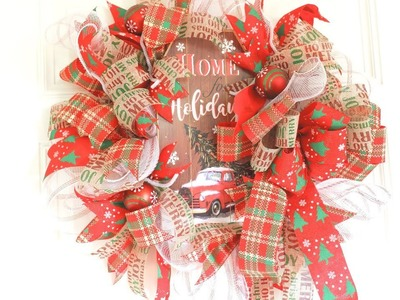 Beautiful Christmas Dollar Tree Wreath for $11.00 + EASY DIY BOW!!!
