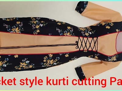 Beautiful double layer jacket style kurti tutorial part 1
