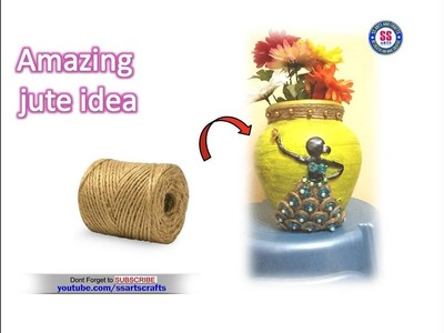Best out of waste  Pot decoration with jute |Jute crafts | Pot decoration with clay