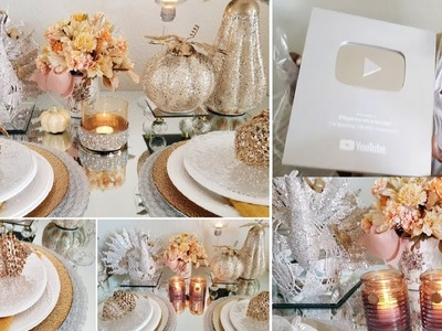 BLING AND GLAM TURKEY CENTERPIECE | DISPLAY TABLE ONE & TABLE TWO | GREAT IDEAS! | FALL TABLESCAPE