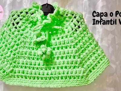 Capa o Poncho Infantil Verde a crochet paso a paso (Versión Diestra)