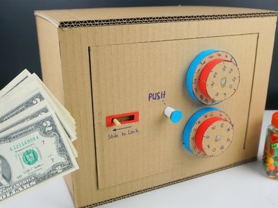 Cardboard Crafts - How to make Safe with Combination Lock from Cardboard