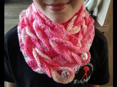 Child size braided crochet scarf , easy tutorial