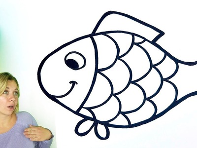 Colorful fish coloring pages - Fish drawing for kids