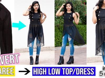 Convert Old Saree Into High Low Top\Kurti\Dress In Just 5 Minutes