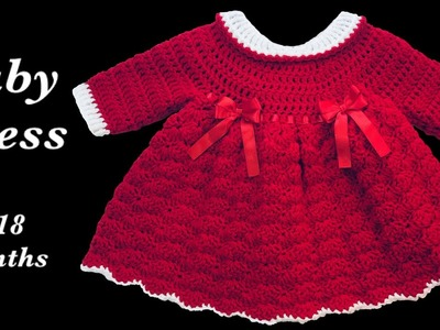 Crochet baby dress   Christmas   Holiday style - 9-12 months fast and easy by Crochet for Baby #160