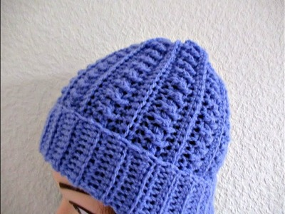 Crochet beanie hat adults women's tutorial Make smaller for child- Designed by Happy Crochet Club