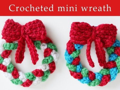 Crochet mini Christmas wreath decoration