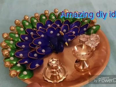 Decorative pooja thali. peacock pooja thali