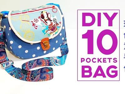 Diy 10 pockets bag ~ Bag tutorial | FREE TEMPLATE DOWNLOAD【Sewing Art】#HandyMum