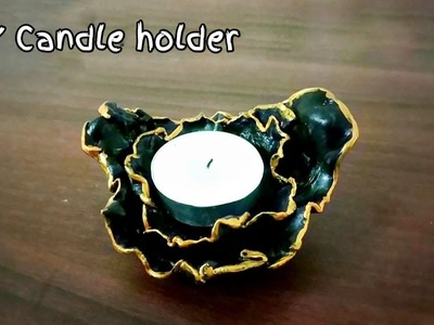 DIY Easy tea light candle holder making idea| How to make candle holder at home| Clay candle holder