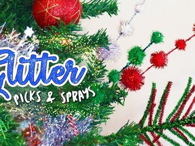 DIY Glitter Picks & Sprays for the Christmas Tree. Dr Seuss inspired. Christmas 2018
