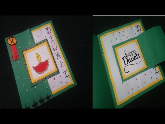 DIY- Handmade Happy Diwali Card easy. Deepawali card for kids for school competition