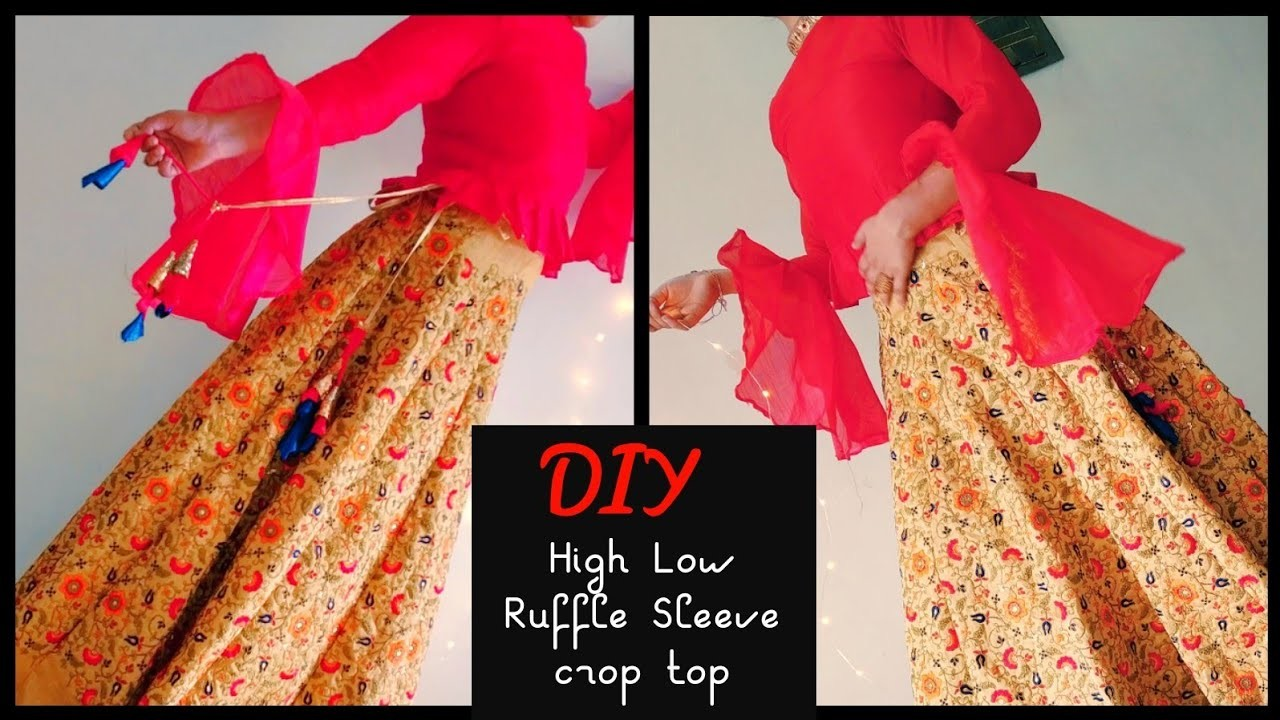 DIY : How To Make Lehenga with High Low Ruffle Sleeves Crop Top Part 2