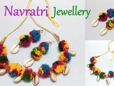 DIY Pom Pom Jewellery | How to make Navratri Jewellery.Ornaments | Navratri Garba Jewellery