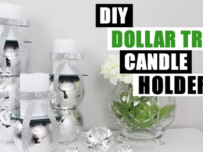 DOLLAR TREE DIY Christmas Ornaments Turned Candle Holders   DIY Glam Home Decor