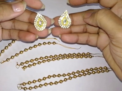 Elegant necklace making with gold beads
