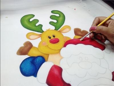 Fabric Painting Tutorial. Pintura En Tela Navidad