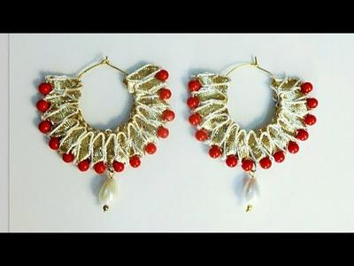 Gota Loop Earrings. Gota Chandbali.Designer Gota Earrings.How to make Gota Patti Earrings at home