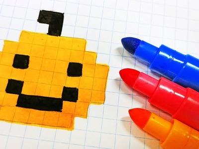 Halloween Pixel Art - How To Draw easy pumpking head #pixelart