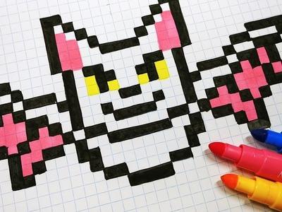 Halloween Pixel Art - How To Draw a Bat #pixelart