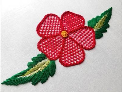 Hand embroidery Net stitch   Net stitching flower design
