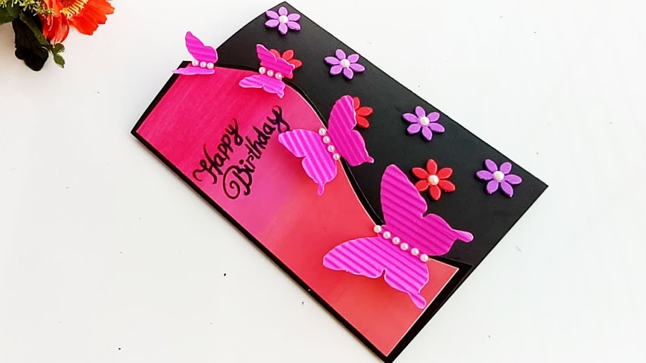 Handmade Butterfly Birthday card.complete tutorial
