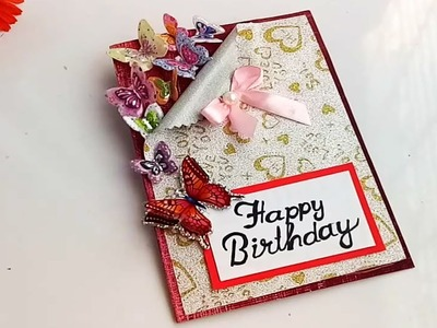 Handmade Butterfly Birthday card.complete tutorial.