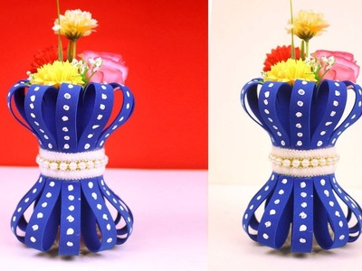 Handmade flower vase with toilet roll - Recycled material craft - New DIY craft idea