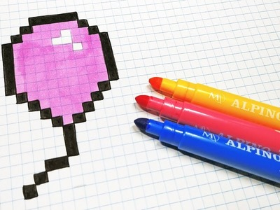 Handmade Pixel Art - How To Draw a Balloon #pixelart