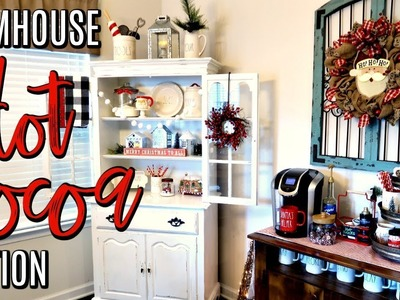 HOT COCOA BAR & FARMHOUSE HUTCH CHRISTMAS DECOR | Cook Clean And Repeat