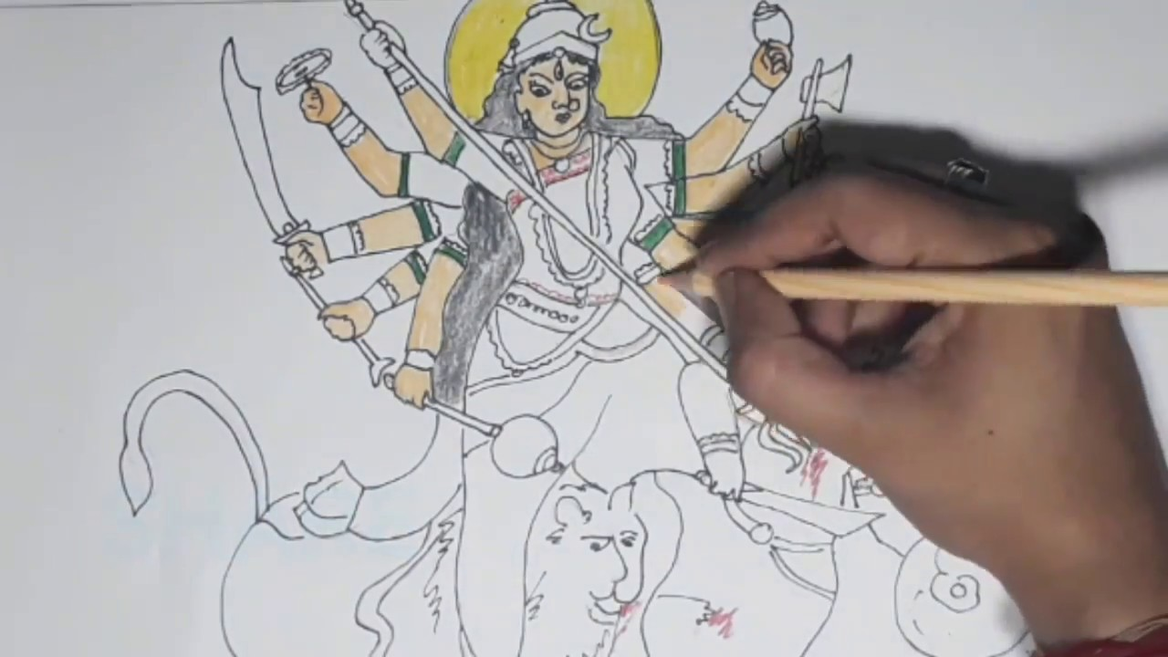 How To Draw Durga Maa Durga Puja Cartoon Drawing For Kids Debi Durgar Asur Badh
