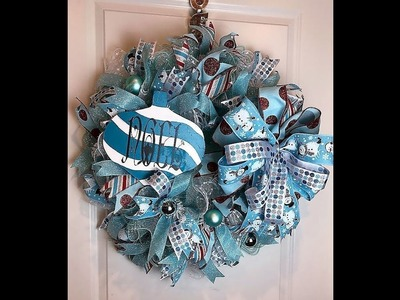 How to make a 30 in ruffle  turquoise and white Christmas wreath