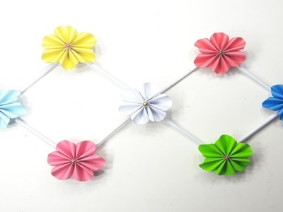 How to make a Tiny Origami paper flower for Wall Hanging, Wedding , Birthday Party, Home Decoration