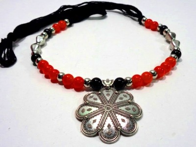 How to Make Glass Beads German Silver Necklace.Diwali Special German Silver Jewellery making