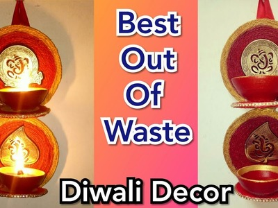 How to make hanging diya decoration stand   Best out of waste    CHRISTMAS DECORATION  