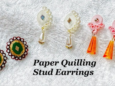 How To Make Stud Earrings With Quilling Paper||New Design Quilling Studs||Quilling Earrings