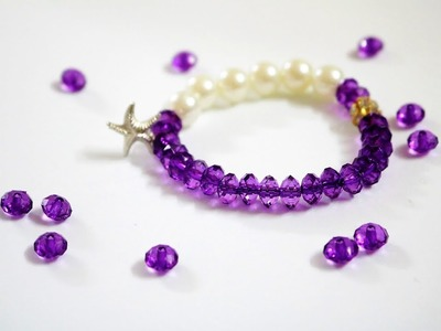 Pearl & purple bead bracelet | DIY party Bracelet| How To Make bracelets| Nelufa Crafts|