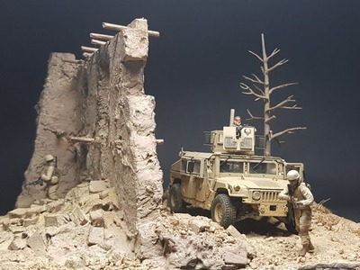 US infantry Afghan house ruins  1.35 scale diorama