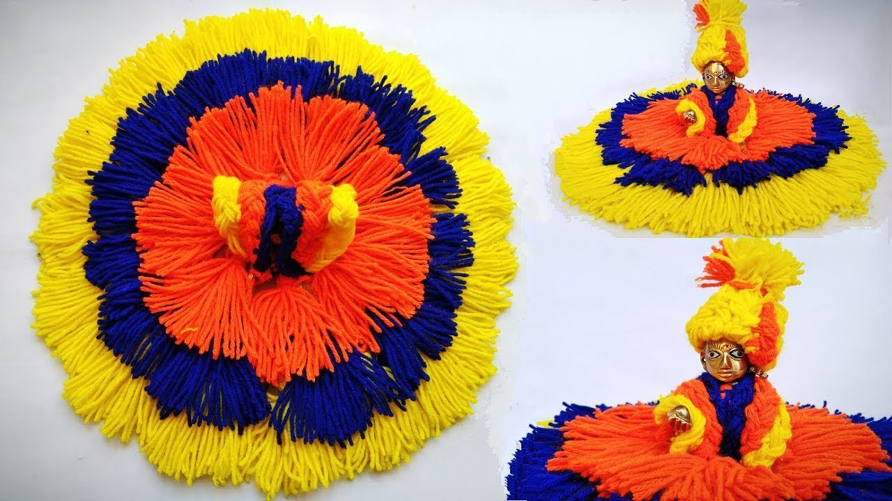 Very Easy Winter.woolen dress for laddu gopal without knitting.bunai step by step