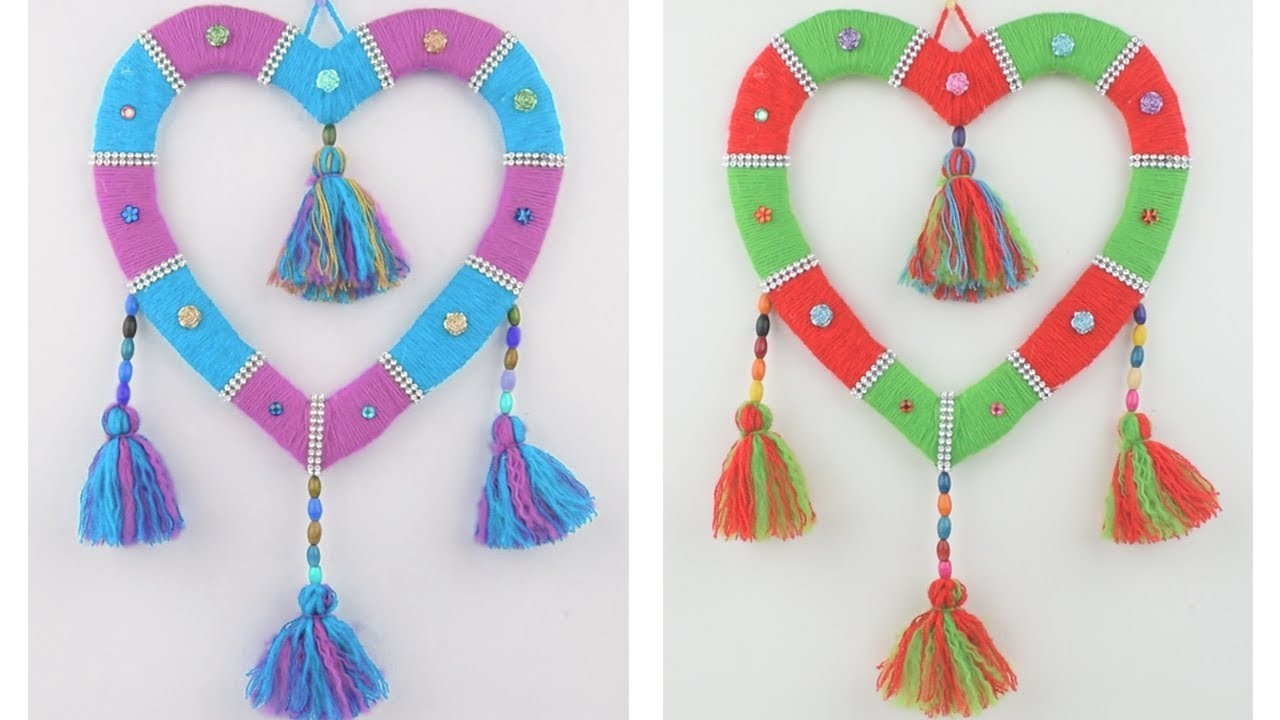 Woolen Heart Wall Hanging Easy Decoration Ideas || Wall Hanging Design For Home Decor ||