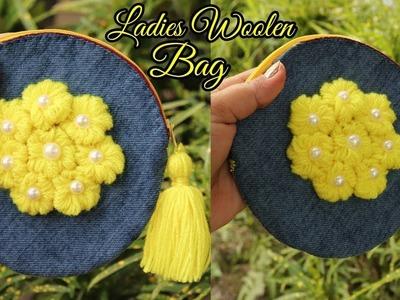 Woolen ladies hand bag Or Purse Using waste jeans   Handmade Purse.handbag RECYCLE OLD JEANS