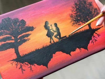 A Loving Couple on a flying Island - Acrylic painting. Homemade Illustration (4k)