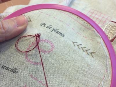 Aprender a bordar. Puntos de bordado. Video tutorial. Punto de pluma Parte 1