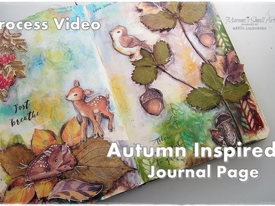 Autumn inspired Journal Page Collage with dry Leaves ♡ Maremi's Small Art ♡