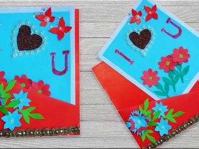 Beautiful handmade Love card | Make Valentine's Card  I Love You Pop Up Card