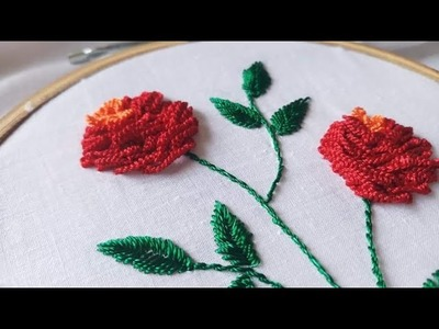 Cast On Stitch Roses (Hand Embroidery Work)