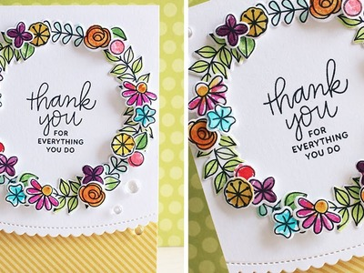Creating A Watercolor Floral Wreath Card by Pretty Pink Posh
